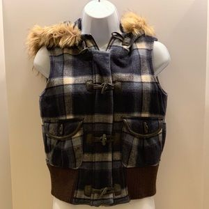 Plaid vest with faux fur hood